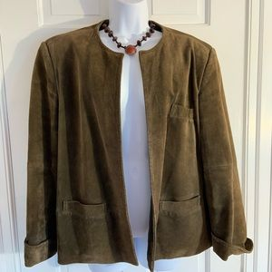 Olive Green Talbots Suede Open Front Jacket 16